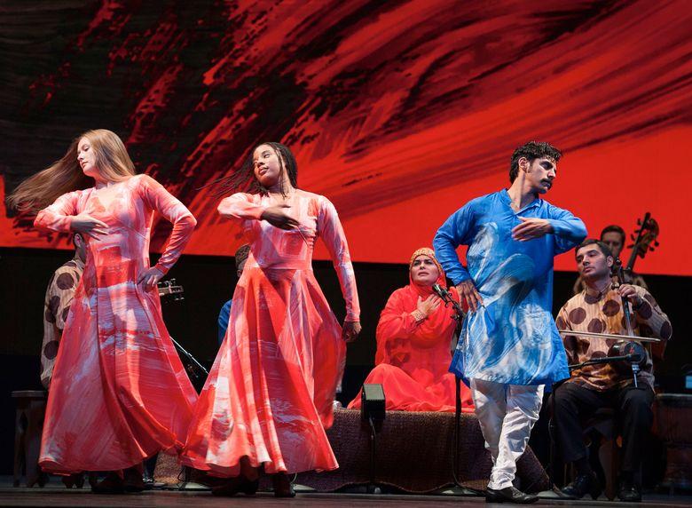 Dancers, from left, Rita Donahue, Michelle Yard, Domingo Estrada, Jr. Musicians (seen behind), from left, Fargana Qasimova, Rauf Islamov, Shawn Conley