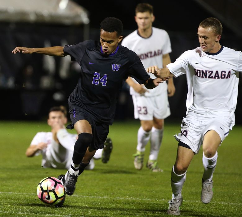 Former UW Huskies star Handwalla Bwana, shown in a file photo, scored in the 68th minute Saturday to give the Sounders a 2-1 preseason win over Portland. (Katie G. Cotterill/The Seattle Times)