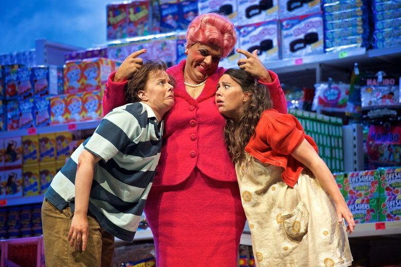 """From left, Sarah Larson, as Hansel, Peter Marsh as the Witch and Anya Matanovic as Gretel in Seattle Opera's """"Hansel and Gretel."""" (Jacob F. Lucas)"""