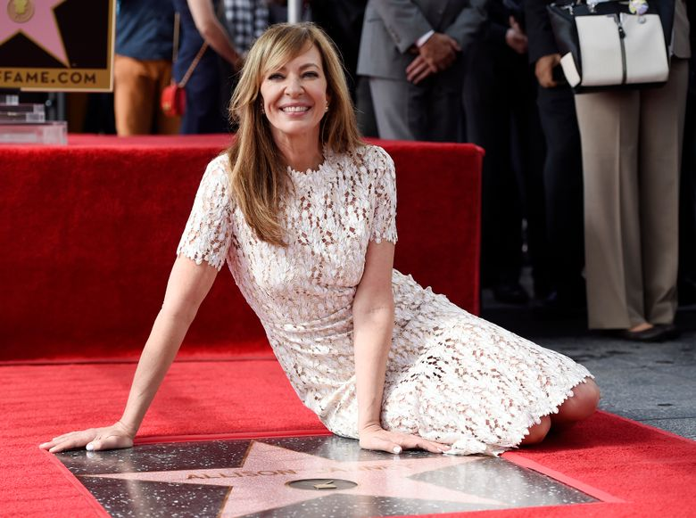 Actress Allison Janney poses atop her new star on the Hollywood Walk of Fame during a ceremony on Monday, Oct. 17, 2016, in Los Angeles. (Photo by Chris Pizzello/Invision/AP)