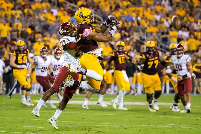 WSU cornerback Marcellus Pippins breaks up a crucial pass on third down to Sun Devils wide receiver N'Keal Harry on the Sun Devils last drive of the game, forcing them to kick a field goal and giving the Cougars the last possession of the game as the Washington State Cougars take on the Arizona State Sun Devils at Sun Devil Stadium in Tempe, Arizona Saturday October 22, 2016. Cougars win, 37-32. (Bettina Hansen/The Seattle Times)