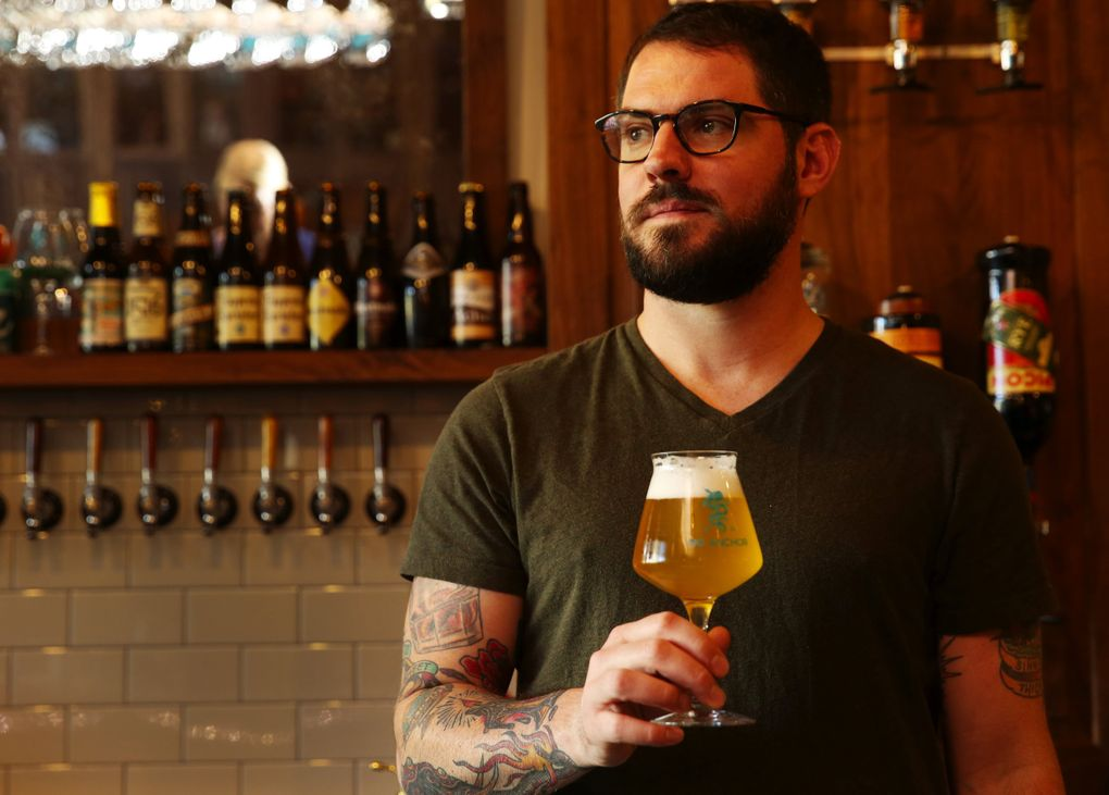 """Chris Elford co-owns No Anchor, the new Belltown beer bar that's getting lots of well-deserved buzz for its lineup of cult and unusual brews with tasting notes such as a """"face-melting guitar solo of a triple IPA.""""  (Ken Lambert/The Seattle Times)"""