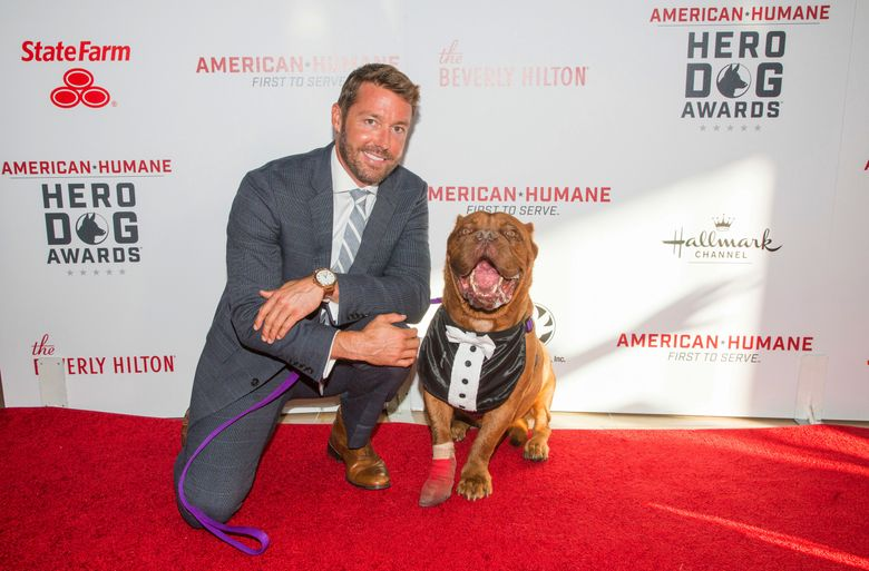 Zach Skow and his French Mastiff, Hooch, seen on the red carpet at the 2016 American Humane Association's Hero Dog of the Year event in Beverly Hills, Calif. The American Humane Association will honor Hooch as Hero Dog of 2016 on Oct. 28 on the Hallmark Channel. (Gabriel Olsen/Crown Media United States via AP)