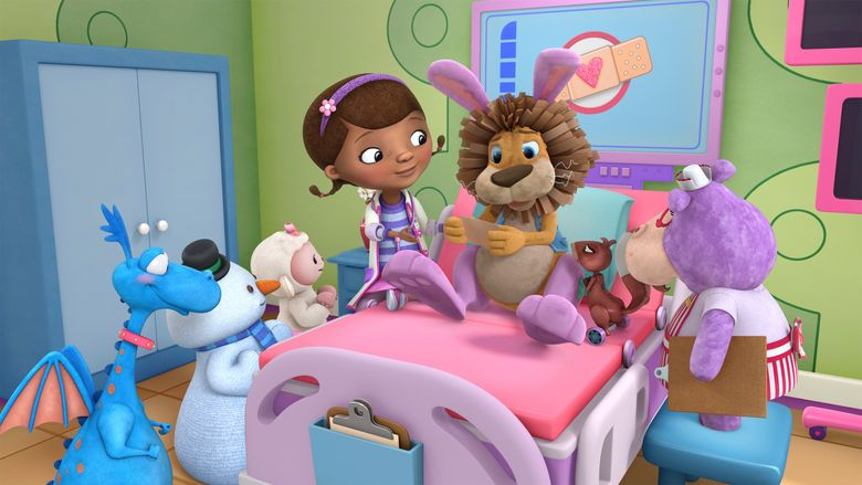 """This image released by Disney Junior shows characters, from left, Stuffy, Chilly, Lamby, Doc, Stanley and Hallie in a scene from """"Doc McStuffins."""" The Disney Junior channel said Wednesday, Nov. 16, it's ordered a fifth season of the Peabody Award-winning animated series. (Disney Junior via AP)"""
