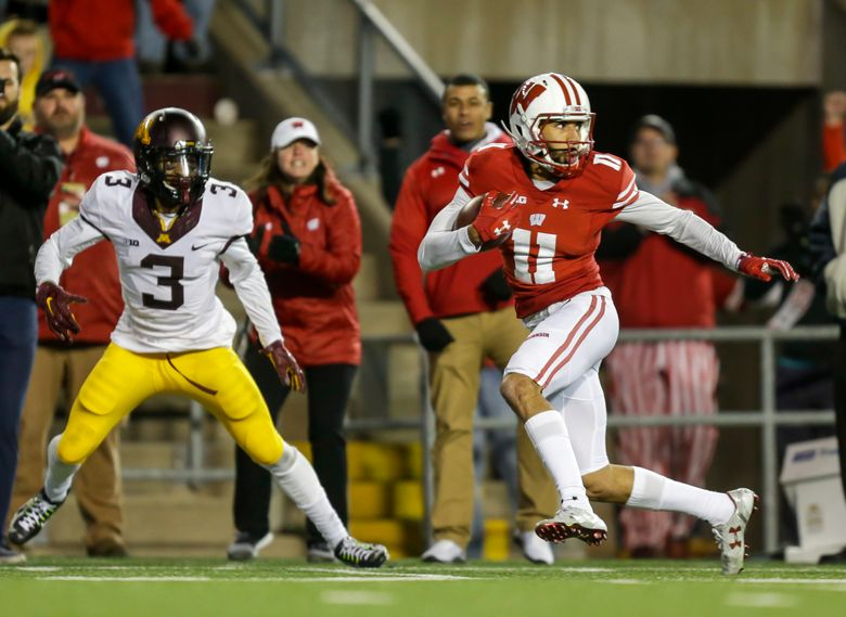 FILE – In this Nov. 26, 2016, file photo, Wisconsin wide receiver Jazz Peavy (11) runs against Minnesota defensive back KiAnte Hardin during the second half of an NCAA college football game, in Madison, Wis. No. 6 Wisconsin dusted off the jet sweep to rousing success against Ohio State, part of a series of tweaks since midseason that has helped the running game become more productive. (AP Photo/Andy Manis, File)