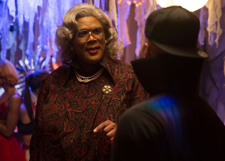 """FILE – In this image released by Lionsgate, Tyler Perry portrays Madea in a scene from, """"Tyler Perry's Boo! A Madea Halloween."""" Perry's latest Madea movie remained number one for the second straight week, topping the North American box office with an estimated $16.6 million. (Daniel McFadden/Lionsgate via AP, File)"""