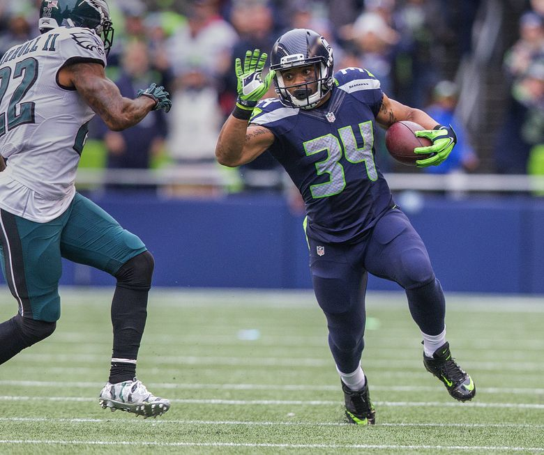 Running back Thomas Rawls #34 during the first half as the Philadelphia Eagles play the Seattle Seahawks at CenturyLink Field on November 20th, 2016. — 0438752714 (Mike Siegel/The Seattle Times)