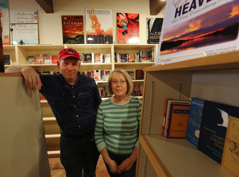 Booktree is one of the few single independent bookstore on the Eastside. Mary Harris and Christopher Jarmick are the co-owners.  (Alan Berner/The Seattle Times)