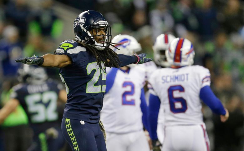 Seattle cornerback Richard Sherman is expected to have a busy day against the Bucs, facing star receiver Mike Evans without any help from Earl Thomas, out with an injury. (John Froschauer/AP)