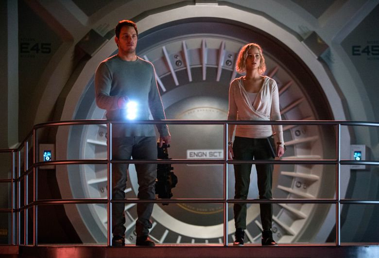 """It's red alert on the spaceship Avalon for Chris Pratt and Jennifer Lawrence in """"Passengers."""" (Jaimie Trueblood/Columbia Pictures'.)"""