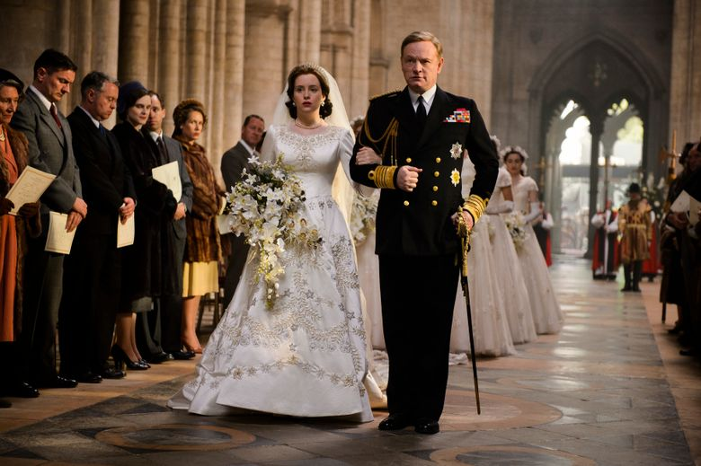 """Claire Foy, left, and Jared Harris star in  """"The Crown.""""   (Alex Bailey/Netflix)"""