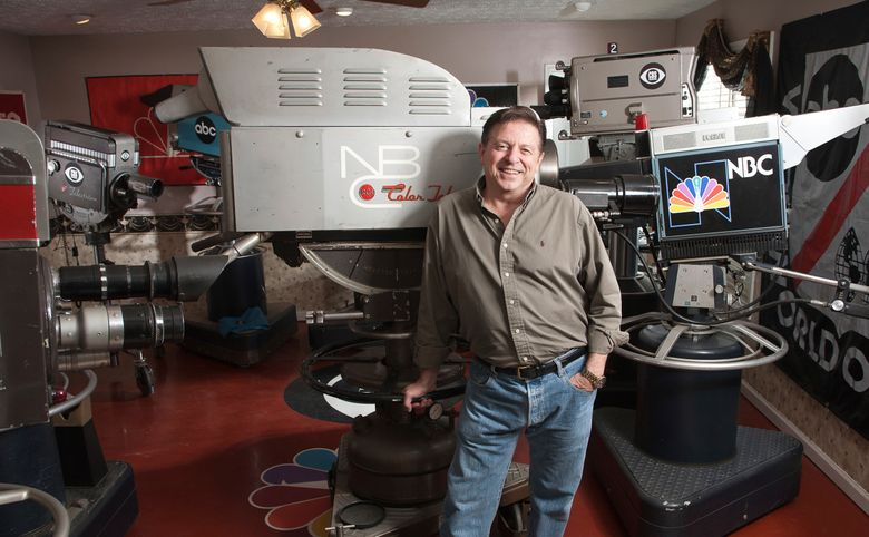 This Feb. 27, 2014 photo shows Bobby Ellerbee with his collection of vintage television cameras in Winder, Ga. Ellerbee's 15 cameras have been cosmetically restored to mint condition. (Parker Clayton Smith via AP)