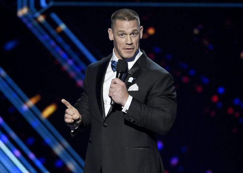 """Professional Wrestler John Cena, seen here speaking at the ESPY Awards in 2016, will appear at  KeyArena on Tuesday, Feb. 7, 2017 for """"Smackdown."""" (Photo by Chris Pizzello/Invision/AP, File)  (Chris Pizzello / AP)"""
