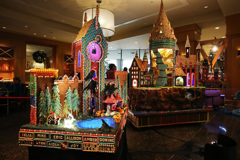 The 24th annual Gingerbread Village was held at the Sheraton Seattle Hotel on Monday, November 21, 2016. Over 1,000 volunteer hours for this event and the displays use an estimated 1,200 lbs. of dough, 800 lbs. of icing, 200 lbs. of white chocolate, 250 lbs. of almond paste and hundreds of pounds of candy. The Village has raised more than $841,000 for the JDRF.   (Logan Riely / The Seattle Times)