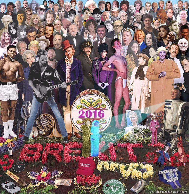 """British art director Chris Barker put together this visual memorial to celebrities who died in 2016 using the memorable """"Sgt. Pepper's"""" album cover. He started in November with around 40 celebrities. It's now at 82, with Debbie Reynolds the latest addition. He's run out of room, he says. (Chris Barker)"""
