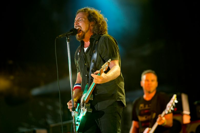 """Pearl Jam performs at the """"Made In America"""" music festival in Philadelphia in 2012. The Seattle rockers will be inducted into the Rock and Roll Hall of Fame in April 2017. (Drew Gurian/DREW GURIAN/INVISION/AP)"""