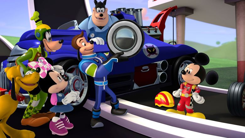 """This image released by Disney Junior, characters, from left, Pluto, Goofy, Minnie Mouse, Jiminy Johnson, Pete the Cat and Mickey Mouse appear in a scene from """"Mickey and the Roadster Racers,"""" a madcap car-racing adventure series for preschoolers  making its television debut on Sunday, Jan. 15 at 9 a.m. EST. (Disney Junior via AP)"""
