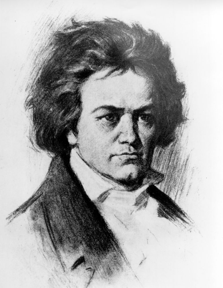 ** FILE ** This is an undated sketch of German composer Ludwig van Beethoven. Beethoven was born in Bonn on Dec. 17, 1770 and died in Vienna on March 26, 1827. Viennese forensic expert Christian Reiter claims it was the famed composer's physician who inadvertently overdosed him with lead, in a case of a cure that went wrong. He says the new analysis shows that in the last few months of Beethoven's life, lead concentrations in his body spiked every time he was treated by his doctor, Andreas Wawruch for fluid inside the abdomen. Those lethal doses permeated his already sick liver, ultimately killing him, he told The Associated Press. (AP Photo) VIE109