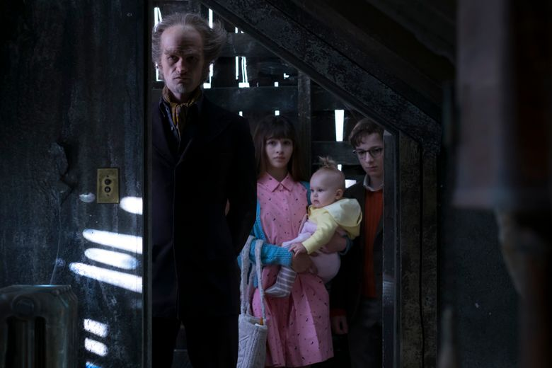 """The cast of """"A Series of Unfortunate Events"""" includes, from left, Neil Patrick Harris, Malina Weissman and Louis Hynes."""