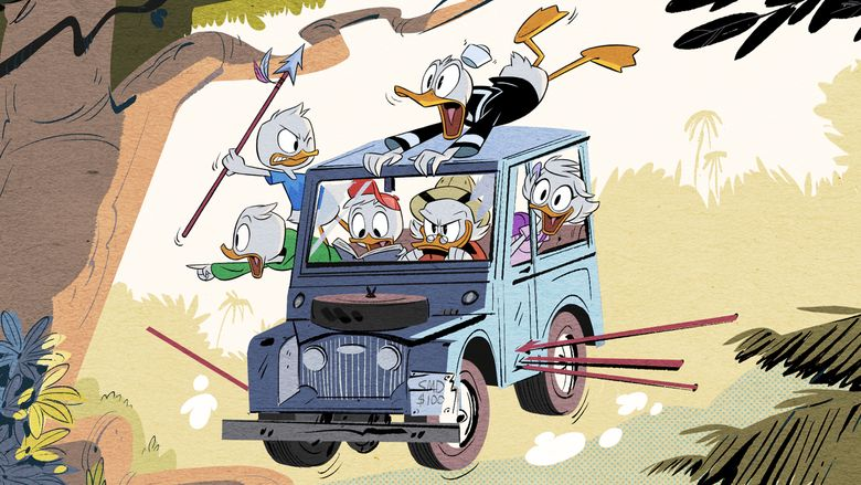 """This image released by Disney XD shows a scene from Disney's """"DuckTales,"""" an all-new animated comedy series based on the Emmy Award-winning series starring Scrooge McDuck and his grandnephews Huey, Dewey and Louie, and Donald Duck. The series is set to debut in 2017 on Disney XD. (Disney XD via AP)"""