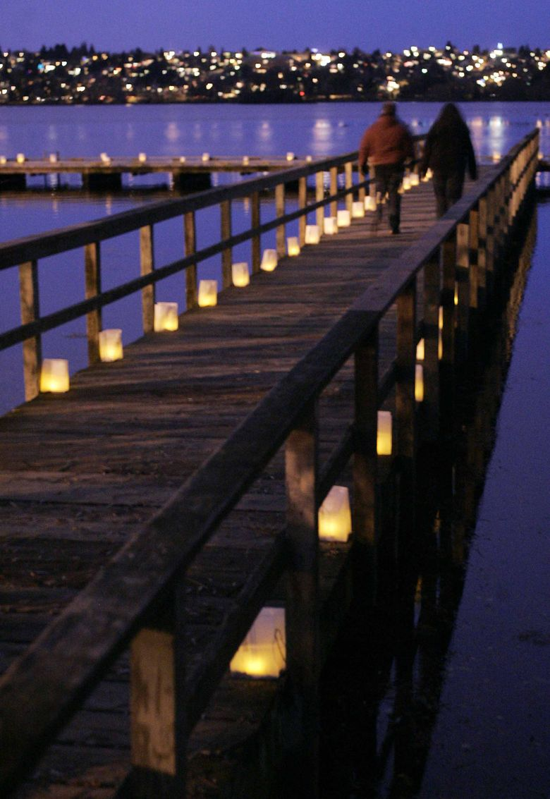 Green Lake Pathway of Lights will feature local musicians and thousands of luminaria on Saturday, Dec. 10. (Erika Schultz / The Seattle Times)