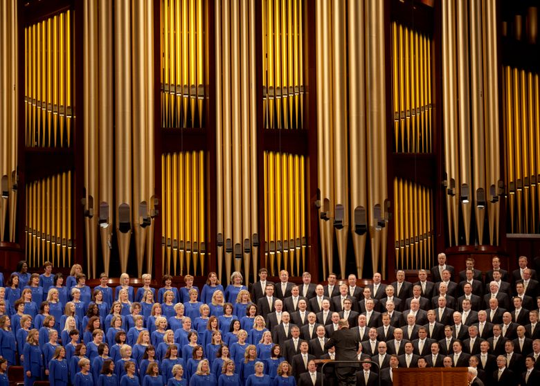 FILE – In this Oct. 3, 2015 file photo, The Mormon Tabernacle Choir sings during the opening session of the two-day Mormon church conference in Salt Lake City.   The church announced on its website Thursday that the 360-member volunteer choir will sing at Trump's swearing-in ceremony on January 20.   (AP Photo/Kim Raff)