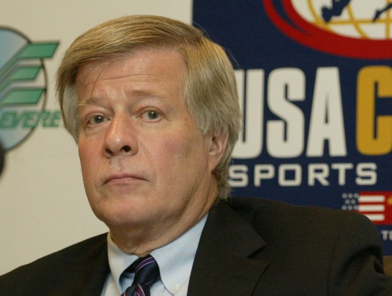 Bob Walsh of the Seattle Organizing Committee, at a joint press conference announcing the creation of a USA-China sports festival in Seattle next June. (Dean Rutz / The Seattle Times)