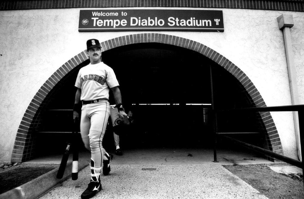Edgar Martinez, shown during spring training 1992 at Tempe Diablo Stadium in Arizona. (Rod Mar / The Seattle Times)