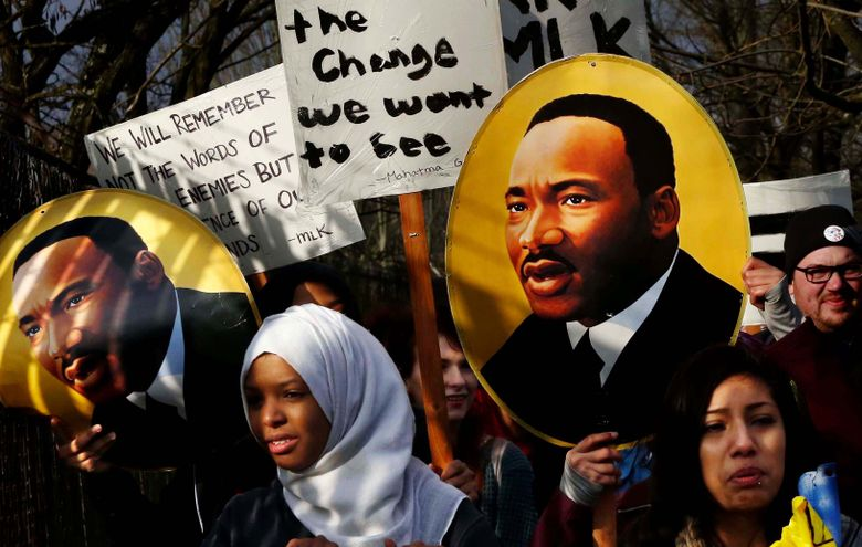 Many youths march to honor the Rev. Dr. Martin Luther King Jr. in a past event. (Alan Berner/The Seattle Times)