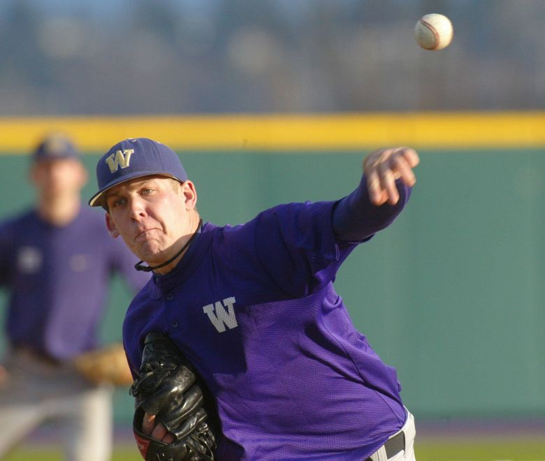 Nick Hagadone, a 6-foot-5 left-hander who pitched at UW, has signed a minor-league deal with the Mariners. (Jim Bates / The Seattle Times)
