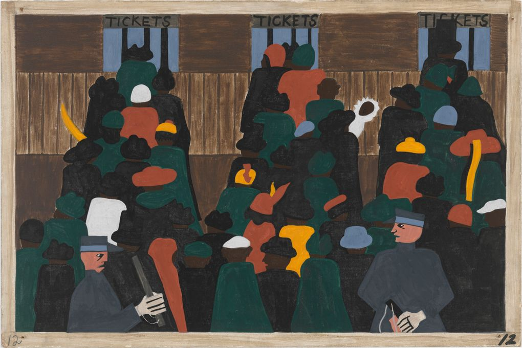 """This panel from Jacob Lawrence's """"Migration Series"""" shows a railroad station packed with people waiting for tickets to travel to the North. Millions of African Americans migrated to cities from the rural South, starting around World War I. (John Wronn)"""