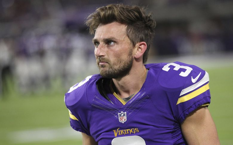 In this Oct. 3, 2016, file photo, Minnesota Vikings kicker Blair Walsh walks on the sidelines during the first half of an NFL football game against the New York Giants, in Minneapolis. (AP Photo/Andy Clayton-King)