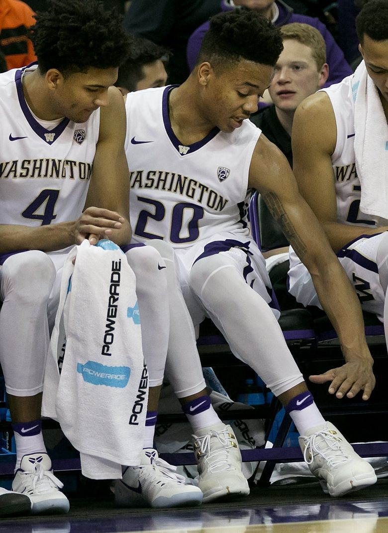 Washington guard Markelle Fultz (20), projected as the top pick in June's NBA draft, has missed two games with a sore knee and could be back in the lineup Thursday against Arizona State. (Johnny Andrews/The Seattle Times)
