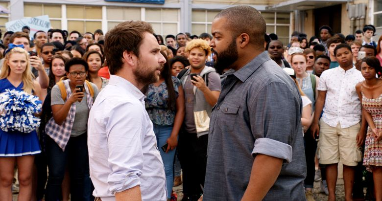 """Two high-school teachers (Charlie Day, left, and Ice Cube) face off in """"Fist Fight."""" (Courtesy of Warner Bros. Picture)"""