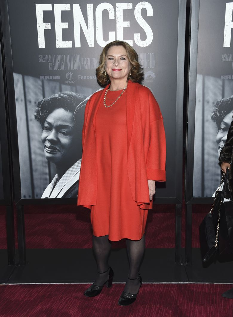 """Constanza Romero Wilson attends a screening of """"Fences"""" in New York. """"I think he would have been ecstatic to have the movie out,"""" Romero Wilson says of her late husband, playwright August Wilson. (Evan Agostini/Evan Agostini/Invision/AP)"""