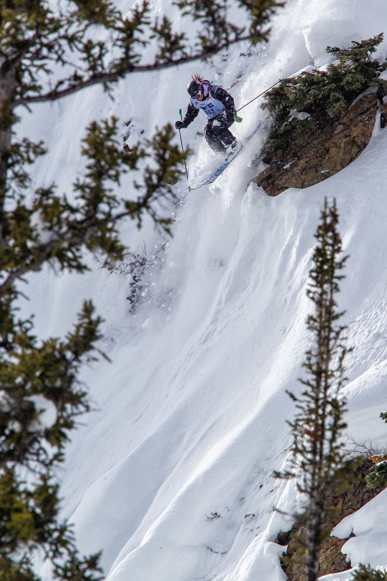 Expert freeride skier Rachel Croft who grew up in Bellevue is the top nationally ranked freeride skier this season and will be competing Thursday through Saturday at the Crystal Mountain Freeride World Qualifier event. Photo courtesy of Mark Epstein.