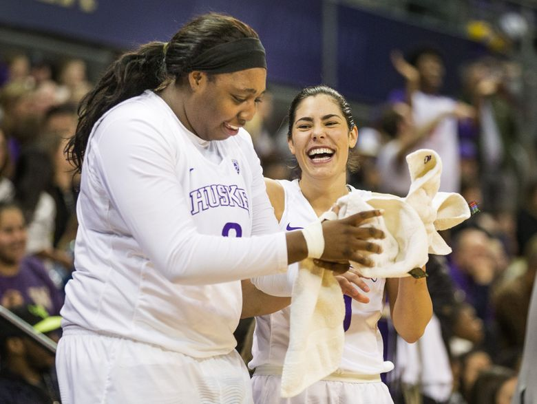 UW's Chantel Osahor, left, and Kelsey Plum are experts at the pick-n-roll play.
