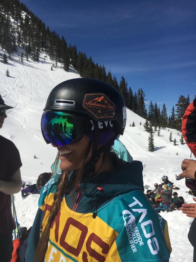 Expert freeride skier Rachel Croft who hails from Bellevue hopes to qualify for the World Freeride Tour from Thursday through Saturday at the Crystal Mountain Freeride World Qualifier event. Photo courtesy of Travis Poulin.