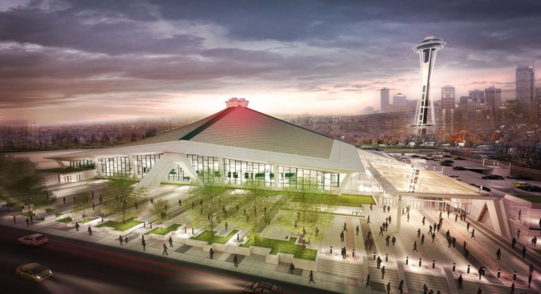 This is an Oak View Group rendering for a potential renovation of KeyArena.  (Oak View Group)