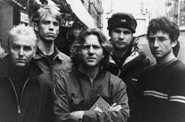 Pearl Jam, from left: Mike McCready, Matt Cameron, Eddie Vedder, Jeff Ament and Stone Gossard. The Seattle band will be inducted into the Rock & Roll Hall of Fame on Friday. (Glen E. Friedman)