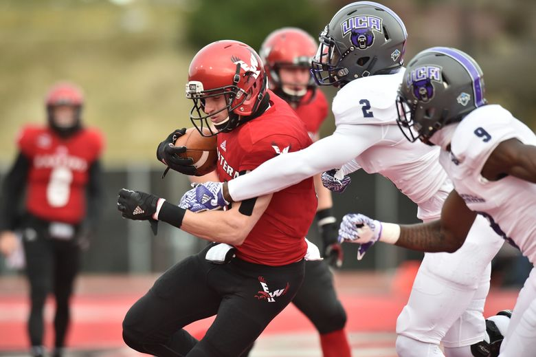 Eastern Washington wide receiver Cooper Kupp (10) hauls in a pass against Central Arkansas during an NCAA FCS college football playoff game in Cheney, Wash. (Tyler Tjomsland/The Spokesman-Review via AP, File)