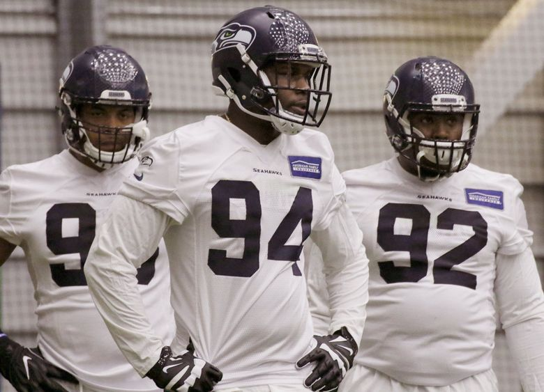 Malik McDowell pictured during the team's rookie minicamp in May, 2017. (Alan Berner / The Seattle Times)