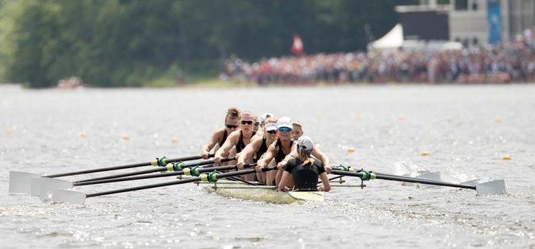 Washington's varsity eight was one of the three Husky boats that won their national final race.  (Chris Szagola)