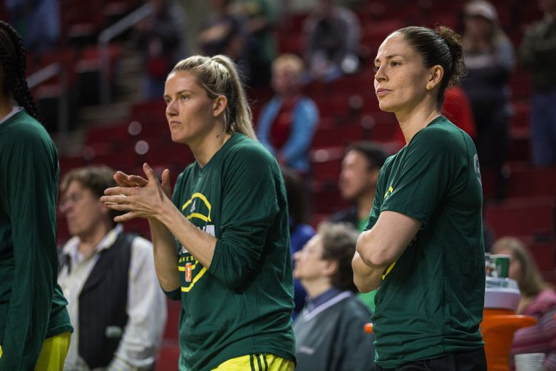 Sue Bird, shown with Sami Whitcomb, did not play in Wednesdy's preseason game. The Phoenix Mercury played the Seattle Storm in the season's exhibition opener Wednesday, May 3, 2017 at KeyArena in Seattle. (Dean Rutz/The Seattle Times)