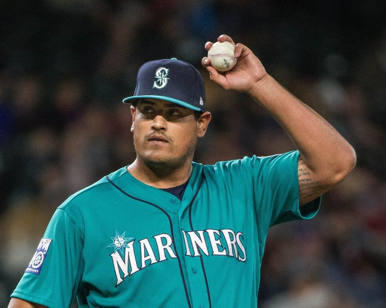 James Pazos gave up a 2-run homer in the 7th.  The Tampa Bay Devil Rays played the Seattle Mariners in the first game of a three game set Friday, June 2, 2017 at Safeco Field in Seattle.  (Dean Rutz / The Seattle Times)