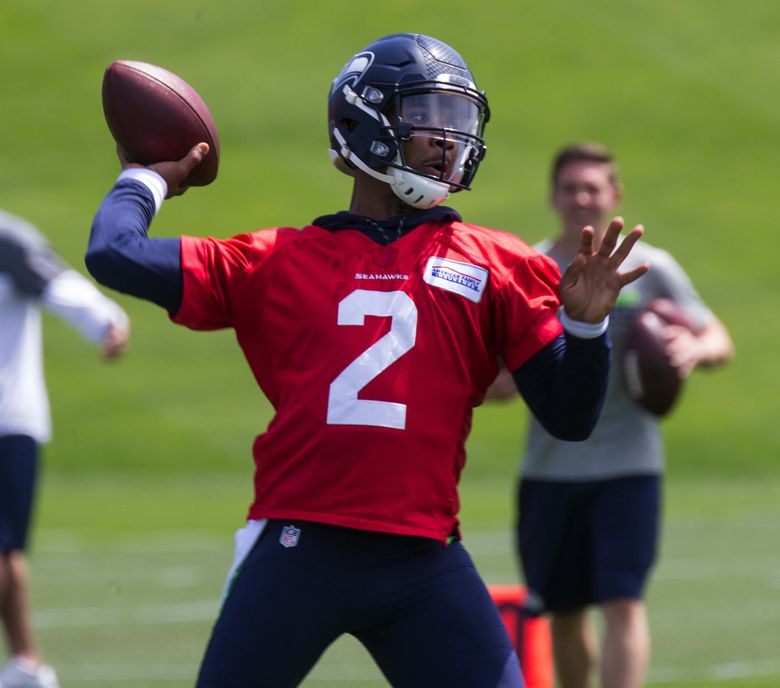 Quarterback Trevone Boykin works out with the Seahawks during their Organized Team Activity in June. (Mike Siegel / The Seattle Times)