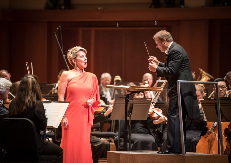 Opera star Joyce DiDonato is shown with Ludovic Morlot and the Seattle Symphony last September. Morlot and DiDonato will appear together in Berlin later this week. (Carlin Ma)