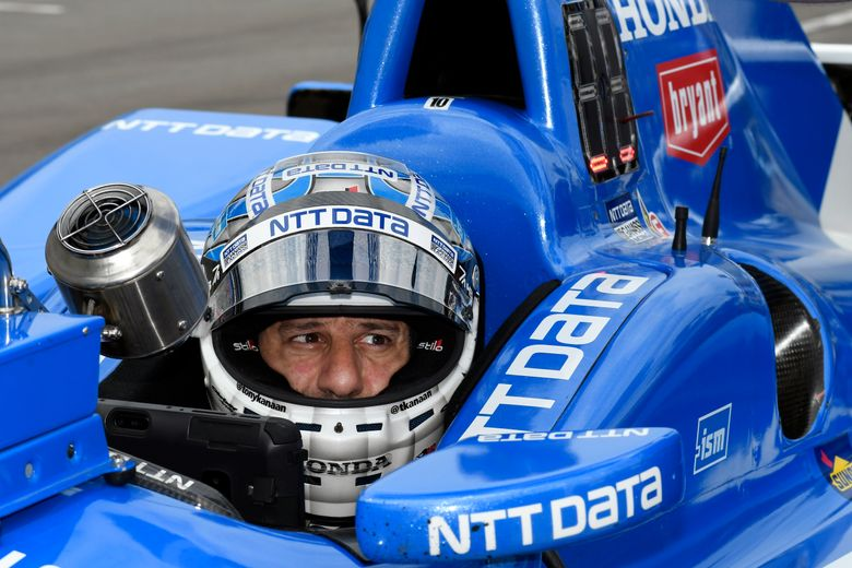 FILE – In this June 9, 2017, file photo, Tony Kanaan, of Brazil, sits in his car on pit road during an IndyCar auto race practice session at Texas Motor Speedway in Fort Worth, Texas. Kanaan feels like a veteran again this weekend at Road America. (AP Photo/Larry Papke, File)