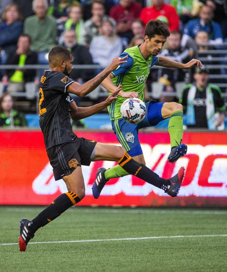 Alvaro Fernandez thought he was fouled by Houston's Leonardo inside the box last Sunday, but no foul was called. Fernandez told a reporter postgame it was likely his final Sounders match at CenturyLink Field. (Dean Rutz/The Seattle Times)