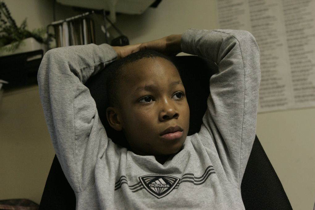 Semaj Booker, 9, at St. John Baptist Church in Tacoma. (Alan Berner/The Seattle Times)